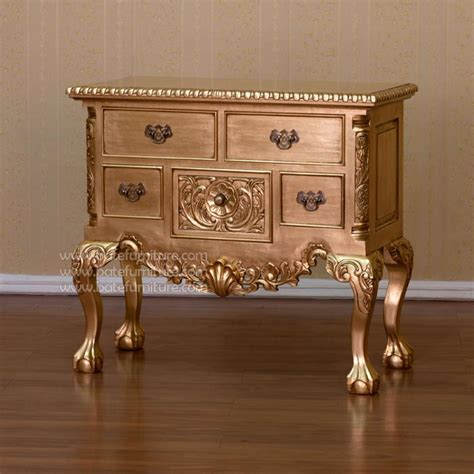 Silver Leaf Furniture by Chippendale Lowboy Buffet Gold Leaf