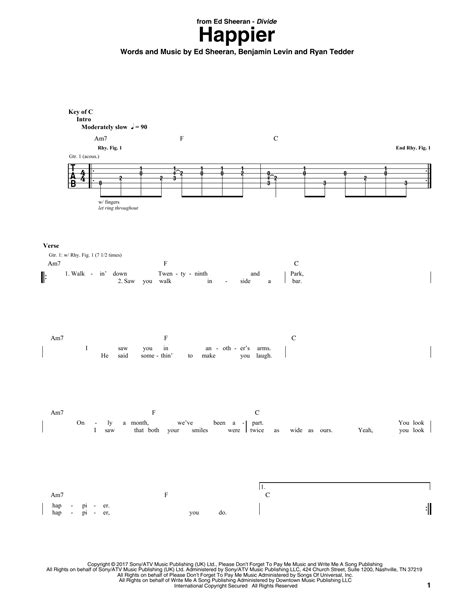 Ed Sheeran Chords Happier | happier by ed sheeran guitar rhythm tab guitar instructor