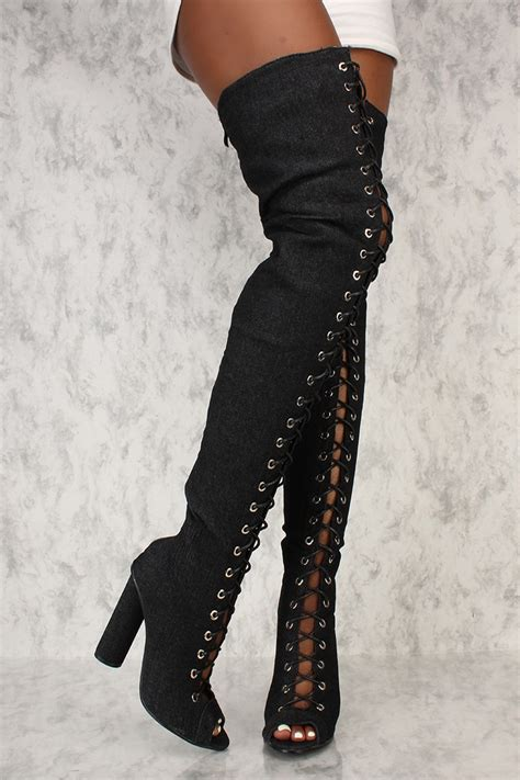 black denim front lace up thigh high chunky ami