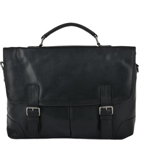 Handcrafted Leather Briefcase - mens soft leather handcrafted briefcase black elliot