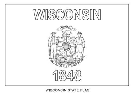 wisconsin state flag coloring page  printable