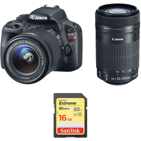 canon eos rebel sl1 dslr canon eos rebel sl1 dslr with 18 55mm and 55 250mm b h
