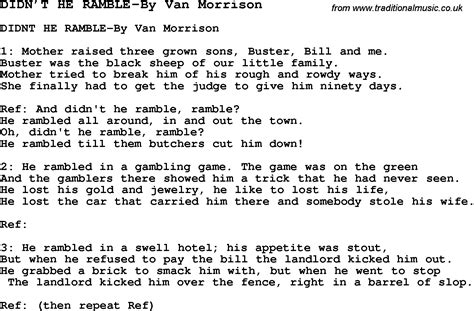 printable lyrics to didn t i walk on the water skiffle lyrics for didn t he ramble by van morrison