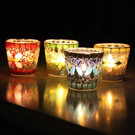 handcrafted mosaic glass sequin candlestick candle