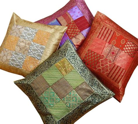 Patchwork Cushion Covers - indian sari patchwork cushion covers asian home