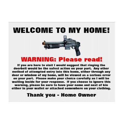 welcome to my home warning yard sign zazzle
