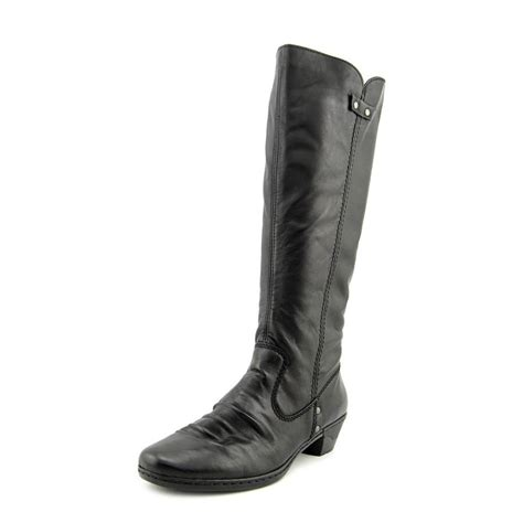 rieker rieker boot leather black mid calf boot