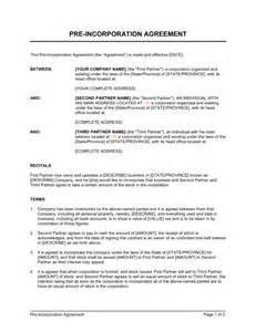 Pre Incorporation Agreement Template Amp Sample Form