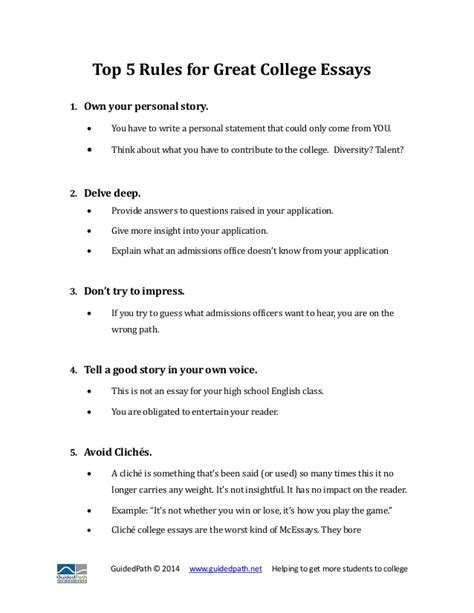 To Great Essay by Top 5 For Great College Essays