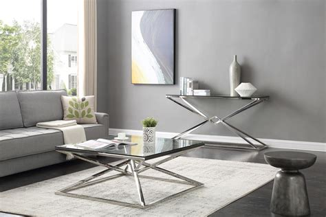 modrest xander modern glass stainless steel console table