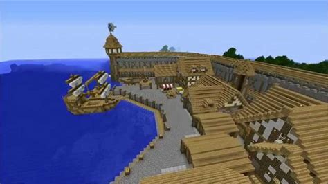 minecraft boat town minecraft timelapse medieval town harbor district