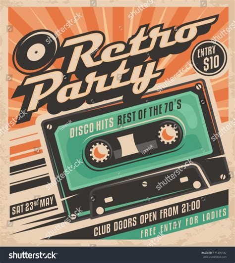 retro 80s party retro party poster design disco music stock vector