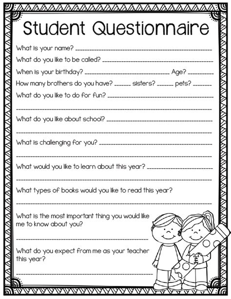 Printable Questionnaire School   student questionnaire back to school printables for