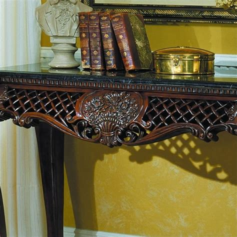 sofa table with marble top trent home gladstone sofa table with marble top 251 05