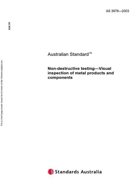 As 3978-2003 Non-Destructive Testing - Visual Inspection