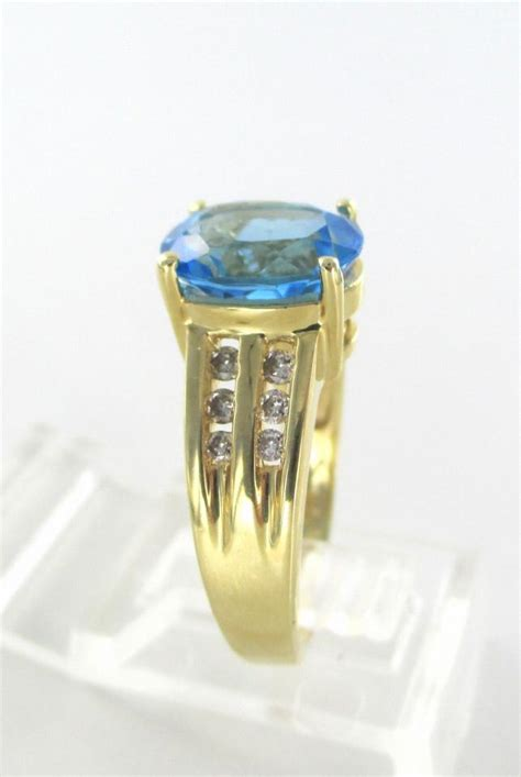 Solid Ring Angka 8 One Way gold 14kt solid yellow 12 diamonds 1 blue topaz 7 engagement band ring tradesy