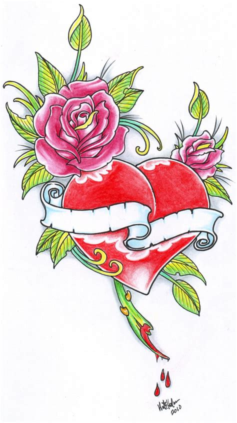heart rose tattoo designs roses n design tattooshunt