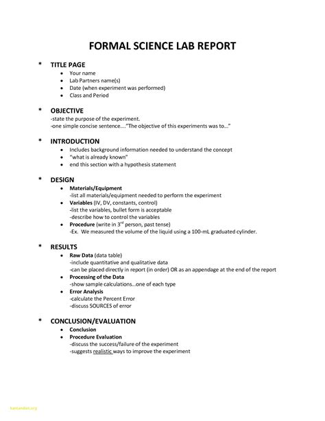lab report template word unique science lab report
