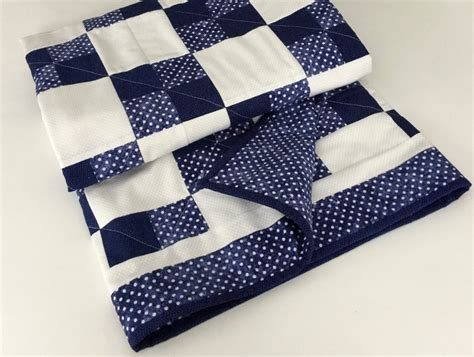 Navy Patchwork Quilt - navy blue and white patchwork baby quilt handmade patchwork