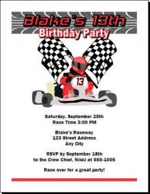 go kart racer birthday party invitations amp ecards from