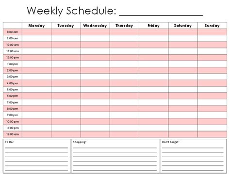 hours schedule template weekly hourly calendar printable calendar template 2016