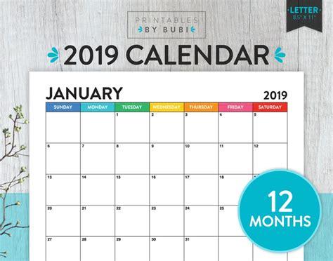printable monthly calendar  calendar printable  wall etsy
