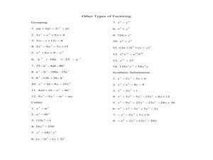 Sum And Difference Of Cubes Worksheet by Factoring By Grouping Synthetic Substitution And Sums