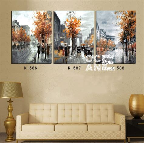 diamond home decor street scenery full square diamond embroidery triptych