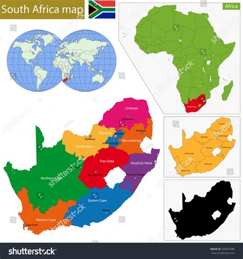 south africa vector map south africa map with the provinces and the cities