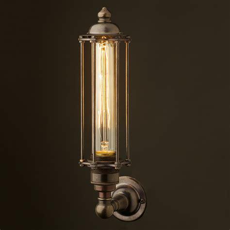 bronze medium bulb cage upright wall l edison light