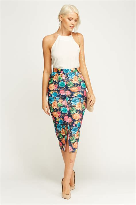 Print Midi Pencil Skirt floral print midi pencil skirt just 163 5