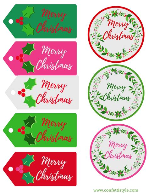 printable merry bright gift tags confettistyle