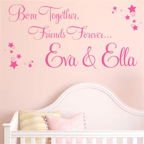 Personalised Wall Stickers Quotes born together friends forever personalised twins wall