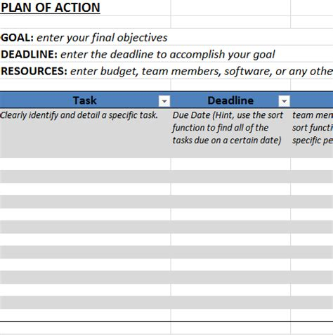 Action Plan Template In Excel Template Trader Plan Exle For Business 2
