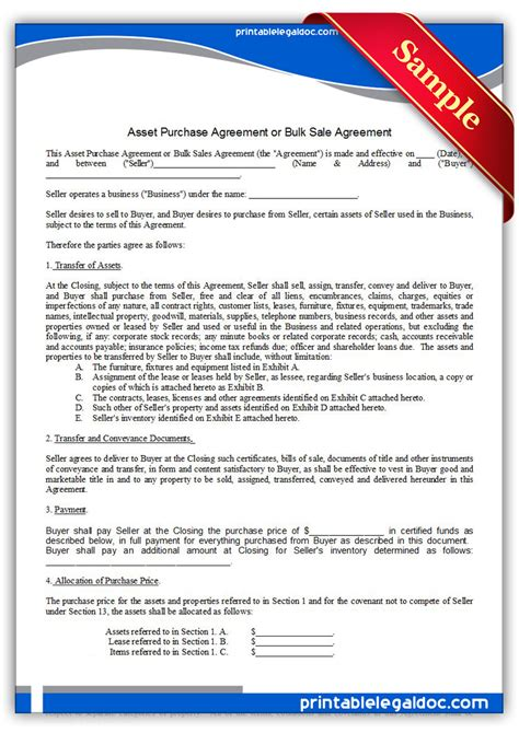 printable asset purchase agreement form generic