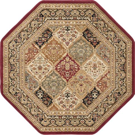 Tayse Rugs Sensation Red 7 Ft 10 In Octagon Traditional Octagon Shaped Area Rugs