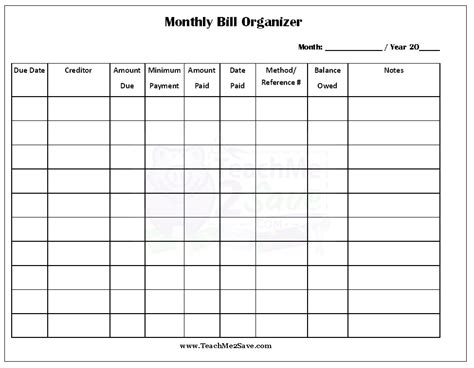 monthly bill organizer template elegant free printable bill payment