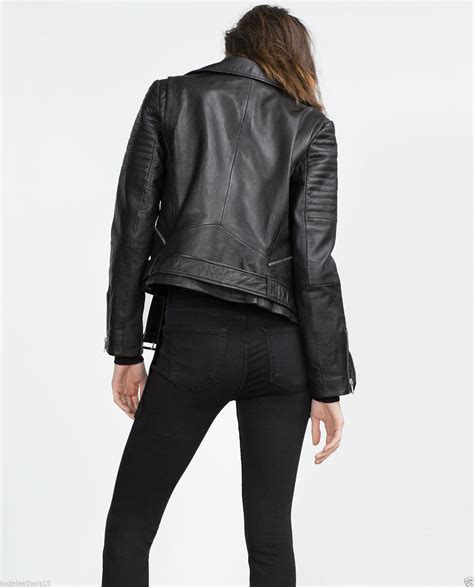 real leather biker women jackets black color genuine leather jackets womens