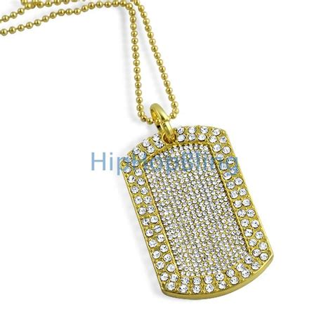 gold tag chain totally iced out blizzard gold tag chain bling bling tags totally iced