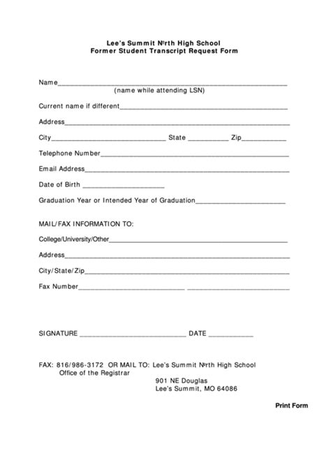 transcript request form top 26 high school transcript request form templates free