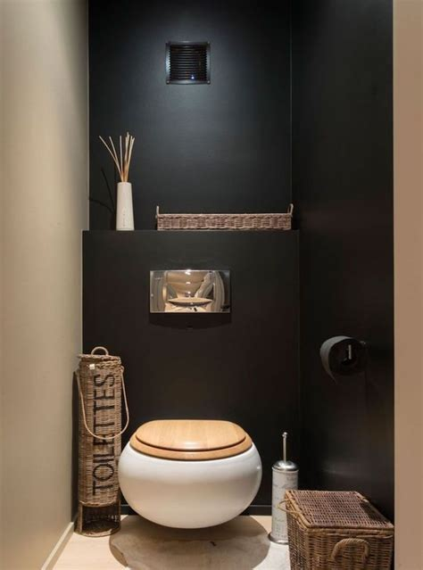 idee deco wc sobre  zen avec murs noir  beige