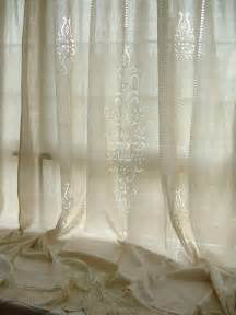 beige lace curtains 2 x french country tab top beige cotton linen crochet lace