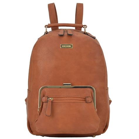 Twist Lock Faux Leather Backpack anais gvani bags brown faux leather with front twist lock