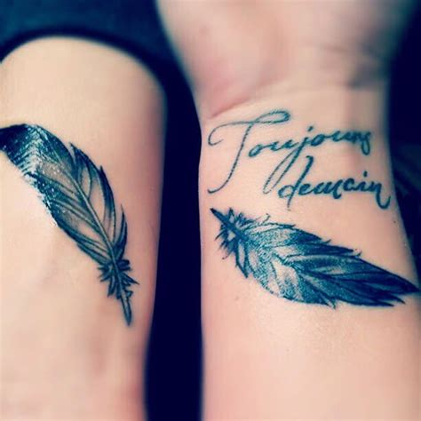 feather tattoo for couples best friend tattoos 110 super cute designs for bffs