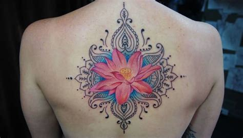 lotus flower mandala tattoo beautiful back lovely pink lotus flower mandala