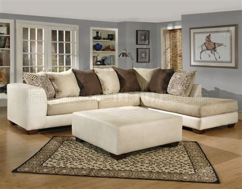 ivory couch ivory fabric modern sectional sofa w optional ottoman