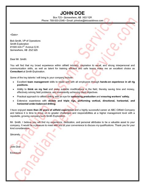 Cover Letter For And Gas Resume Oilfield Consultant Cover Letter Sle Exle