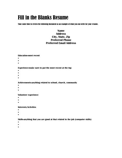 Job Resume Examples Blank by Best Photos Of Fill In The Blank Resume Fill In Blank