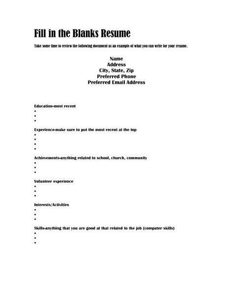 resume sample blank form free basic blank resume template printable