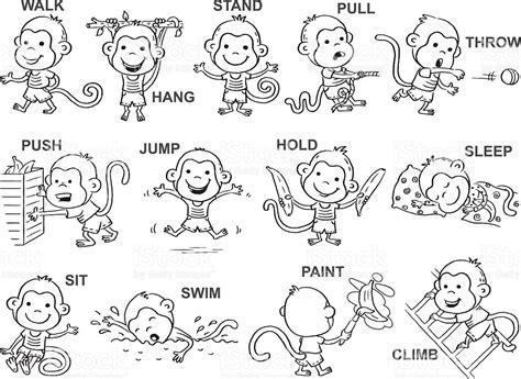 imagenes de verbos en ingles blanco y negro verbs of action in pictures black and white stock vector